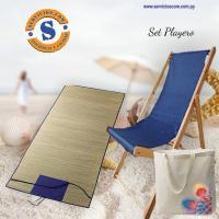 Kit de playa El kit incluye una esterilla bolso artesanal con detale en ñanduti reposera de madera. Consultas al WhatsApp (0982)950800