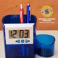 Porta Lápiz con Reloj Dijital