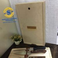 Kit de Asado en caja con tapa madera