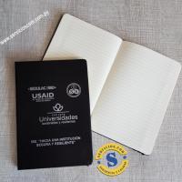 Agenda Semi Ejecutiva Libreta Cuaderno Mediano con logo, páginas rayadas,separador de hojas en tela. Ideal para congresos. Consultas al WhatsApp 0982-950800