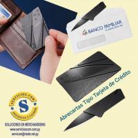 Abrecartas Novedoso abrecartas tipo tarjeta de crédito, práctico de portarlo en la billetera. Para más informes comunicate al whatsApp 0982-950800 Lìnea baja 021-208208 o escribenos en la galería de contactos