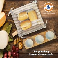 Set Picadas Panera desmontable en tela de algodón y Porta bowls para salsas. Consultas al WhatsApp (0982)950800 o escribenos en la galería de contactos.